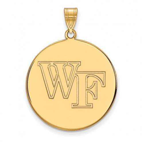 Wake Forest Demon Deacons Sterling Silver Gold Plated Extra Large Disc Pendant