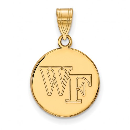 Wake Forest Demon Deacons Sterling Silver Gold Plated Medium Disc Pendant