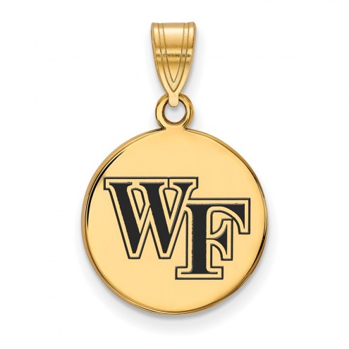 Wake Forest Demon Deacons Sterling Silver Gold Plated Medium Enameled Disc Pendant