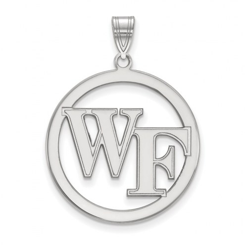 Wake Forest Demon Deacons Sterling Silver Large Circle Pendant