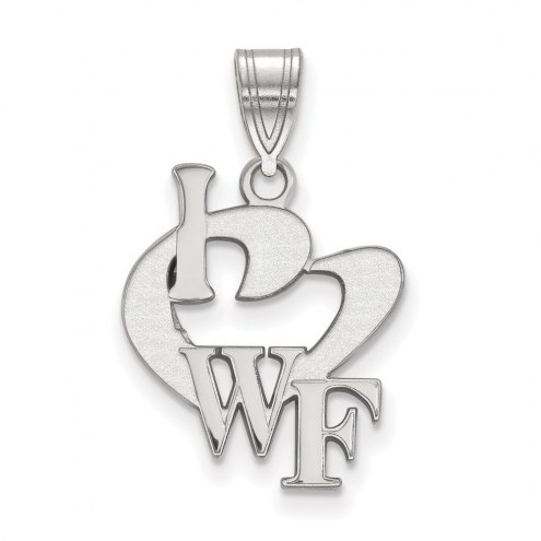 Wake Forest Demon Deacons Sterling Silver Large I Love Logo Pendant