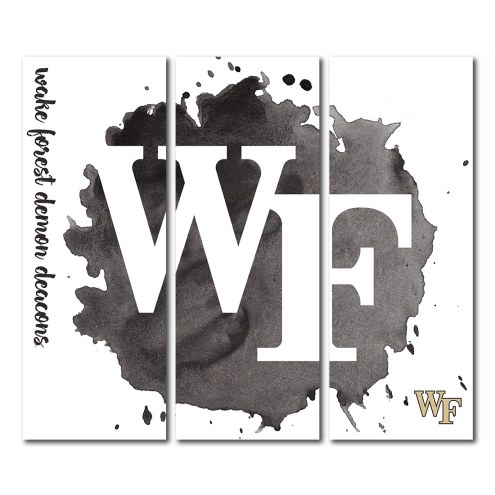 Wake Forest Demon Deacons Triptych Watercolor Canvas Wall Art