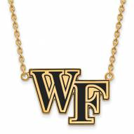 Wake Forest Demon Deacons Sterling Silver Gold Plated Large Enameled Pendant Necklace