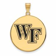 Wake Forest Demon Deacons Sterling Silver Gold Plated Extra Large Enameled Disc Pendant