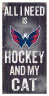 """Washington Capitals 6"""" x 12"""" Hockey & My Cat Sign"""