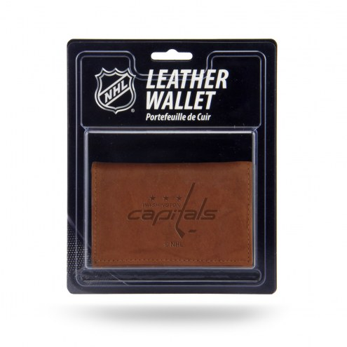 Washington Capitals Brown Leather Trifold Wallet