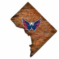 Washington Capitals Distressed State with Logo Sign
