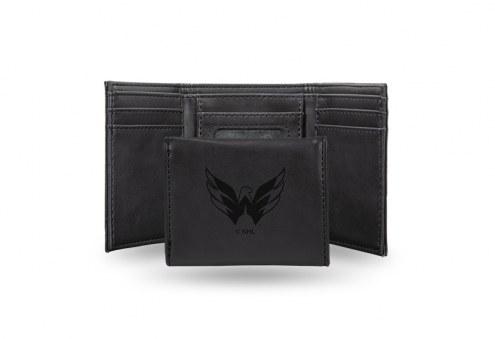 Washington Capitals Laser Engraved Black Trifold Wallet