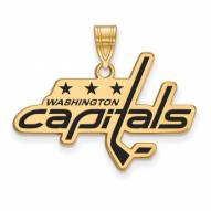 Washington Capitals Sterling Silver Gold Plated Large Enameled Pendant