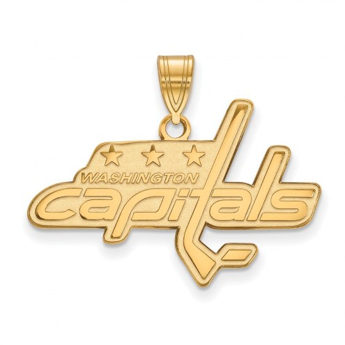 Washington Capitals Sterling Silver Gold Plated Large Pendant