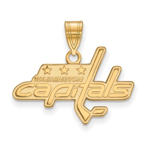 Washington Capitals Sterling Silver Gold Plated Medium Pendant