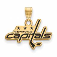 Washington Capitals Sterling Silver Gold Plated Small Enameled Pendant