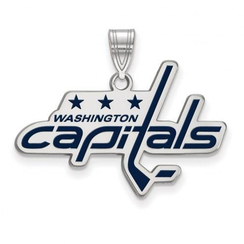 Washington Capitals Sterling Silver Large Enameled Pendant