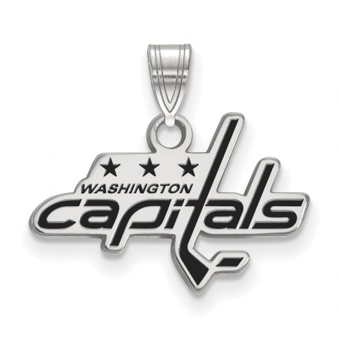 Washington Capitals Sterling Silver Small Enamel Pendant