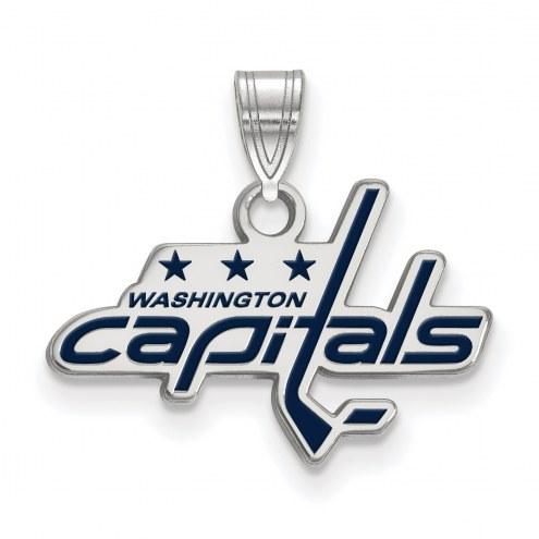 Washington Capitals Sterling Silver Small Enamel Pendant