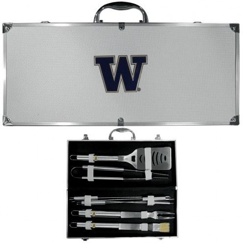 Washington Huskies 8 Piece Stainless Steel BBQ Set w/Metal Case