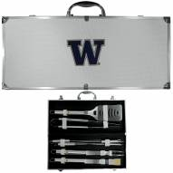 Washington Huskies 8 Piece Stainless Steel BBQ Set w/Metal Case