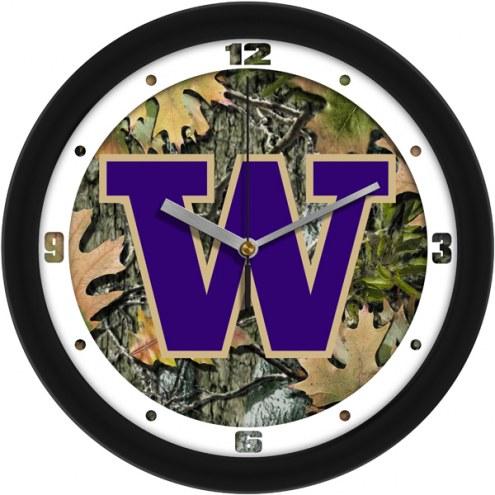 Washington Huskies Camo Wall Clock