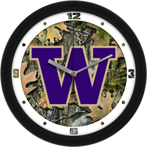Washington Huskies Camo Wall Clock