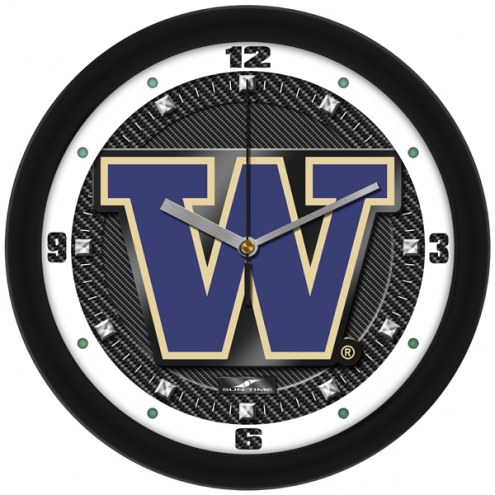 Washington Huskies Carbon Fiber Wall Clock