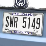 Washington Huskies Chrome Metal License Plate Frame