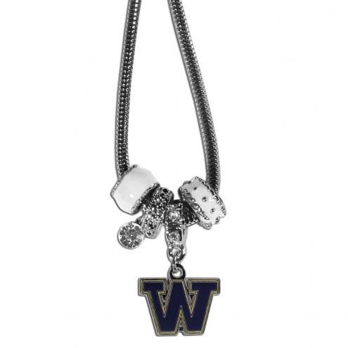 Washington Huskies Euro Bead Necklace