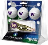 Washington Huskies Gold Crosshair Divot Tool & 3 Golf Ball Gift Pack