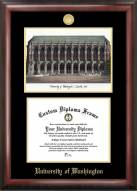 Washington Huskies Gold Embossed Diploma Frame with Campus Images Lithograph