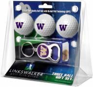 Washington Huskies Golf Ball Gift Pack with Key Chain