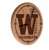 Washington Huskies Laser Engraved Wood Clock