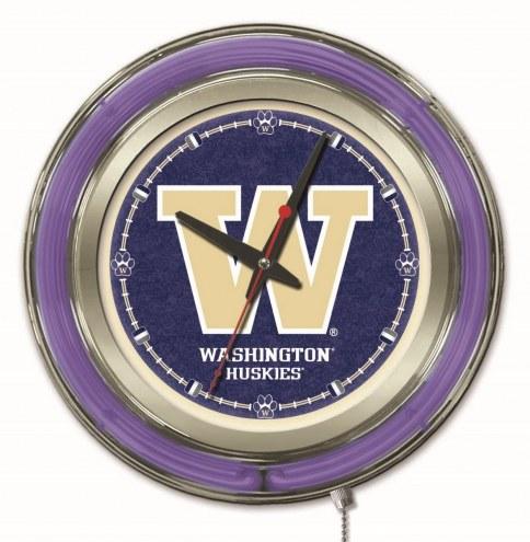 Washington Huskies Neon Clock