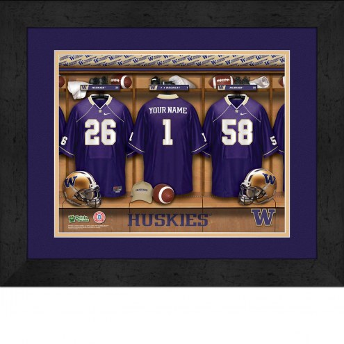 Washington Huskies Personalized Locker Room 13 x 16 Framed Photograph