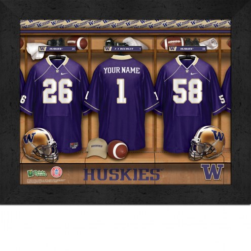 Washington Huskies Personalized Locker Room 11 x 14 Framed Photograph