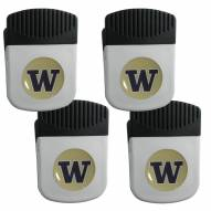 Washington Huskies 4 Pack Chip Clip Magnet with Bottle Opener