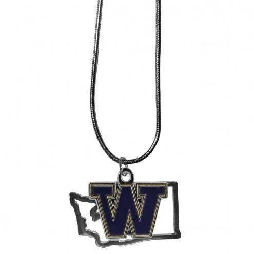 Washington Huskies State Charm Necklace