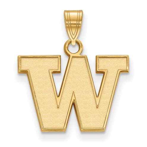 Washington Huskies Sterling Silver Gold Plated Small Pendant