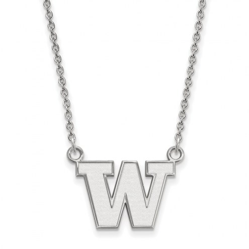 Washington Huskies Sterling Silver Small Pendant Necklace