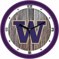 Washington Huskies Weathered Wood Wall Clock