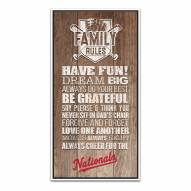 Washington Nationals Family Rules Icon Wood Framed Printed Canvas