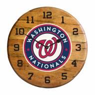 Washington Nationals Oak Barrel Clock