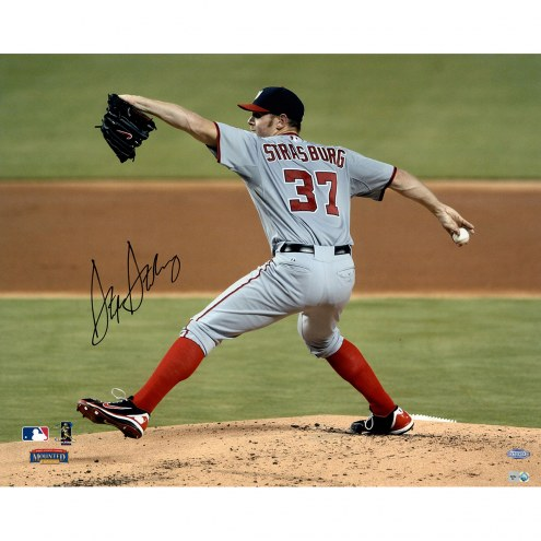 "Washington Nationals Stephen Strasburg Pitching w/ Grey Jersey Signed 16"" x 20"" Photo"