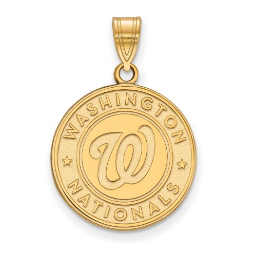 Washington Nationals Sterling Silver Gold Plated Large Pendant