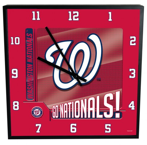 Washington Nationals Team Black Square Clock