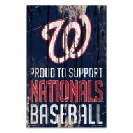 Washington Nationals Proud to Support Wood Sign