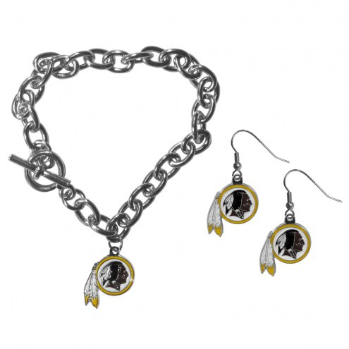 Washington Redskins Chain Bracelet & Dangle Earring Set