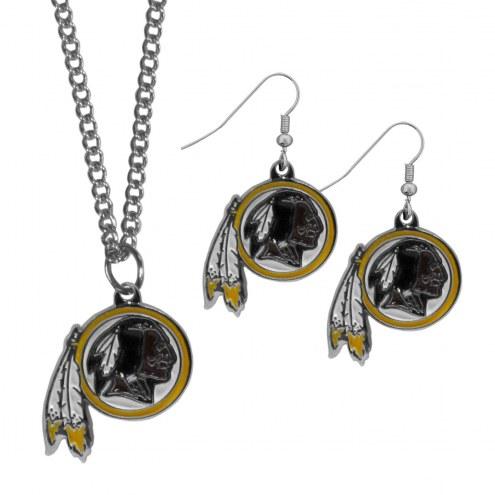 Washington Redskins Dangle Earrings & Chain Necklace Set