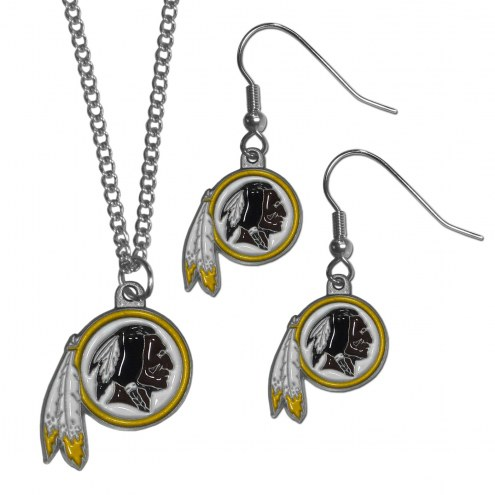 Washington Redskins Dangle Earrings & Chain Necklace Set