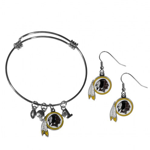 Washington Redskins Dangle Earrings & Charm Bangle Bracelet Set