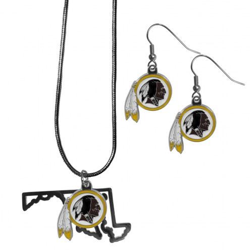 Washington Redskins Dangle Earrings & State Necklace Set