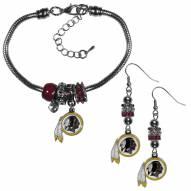 Washington Redskins Euro Bead Earrings & Bracelet Set